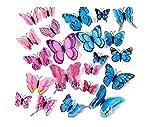 WandSticker4U- 24er hochwertige 3D Schmetterlinge mit Magnet und Doppelflügeln | Wanddeko Aufkleber Butterfly Hochzeit basteln Garten Deko für Baby- Kinderzimmer Wohnzimmer Schlafzimmer (Rosa+Blau)