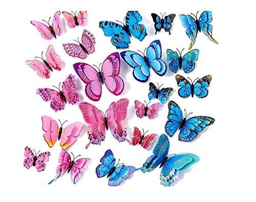 WandSticker4U- 24er hochwertige 3D Schmetterlinge mit Doppelflügeln und Magnet | Wand Fenster Möbel Dekoration Basteln Hochzeit Tischdeko Butterfly | Deko für Wohnzimmer Kinderzimmer (rosa+blau)