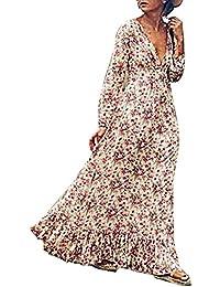 728038499b7 Juleya Robe Femmes Manche Longue Rétro Impression Mode Fête Plage Vacances  Femme Robe Longue Ete Boheme Chic Fleurie Imprimé Tunique De…