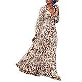 Juleya Robe Femmes Manche Longue Rétro Impression Mode Fête/Plage/Vacances Femme Robe Longue Ete Boheme Chic Fleurie Imprimé Tunique De Plage