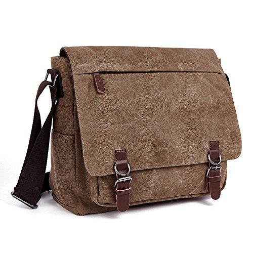 Kaichen Umhängetasche Herren Schultertasche 16 Zoll Kuriertasche Canvas Laptop Tasche Messenger Bag für Arbeit und Schule (Blau) Kaffee
