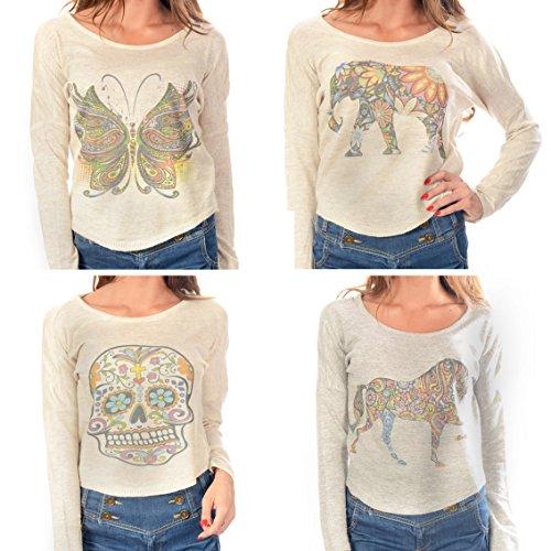 Tier Printed Crop Jumper Batwing Top Womens Mädchen tragen (ML, Butterfly) - Butterfly Crop