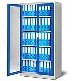 Jan Nowak by Domator24 Lüllmann C012 Armoire à Pharmacie en Verre avec Porte coulissante Universelle et Armoire en métal Gris/Bleu