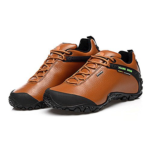 Xiang Guan Homme Low-top Lace-up Cuir Imperméable Chaussures de Camping Randonnée Walking Trail Trekking Outdoor Footwear Marron