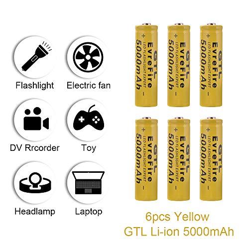 onedeal GTL 18650 3.7V 5000mAh Batería Recargable de Ion Litio para Linterna led RC1060