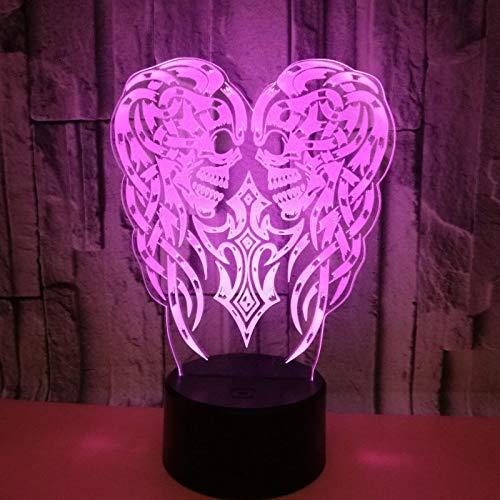 3D Illusion Lampe LED Nachtlicht Nachtlampe Halloween-Kürbiskopf 7 Farben ändern mit Touch Tischleuchte für Schlafzimmer Home Decoration, Hochzeit, Geburtstag, Weihnachten und Romantische Valentine