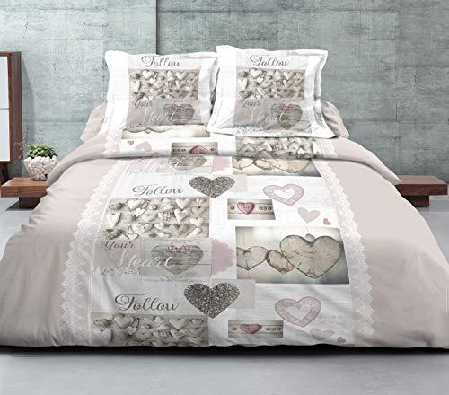 bng Parure de lit 3 pièces Housse de Couette 240x220 cm 2 taies d'oreiller 63x63 cm placées Assorties Cœurs