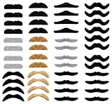 Whale 48pcs Novelty Fake Moustache Self Adhesive Moustaches Halloween Set for Masquerade Party Favor, Costume and Performance