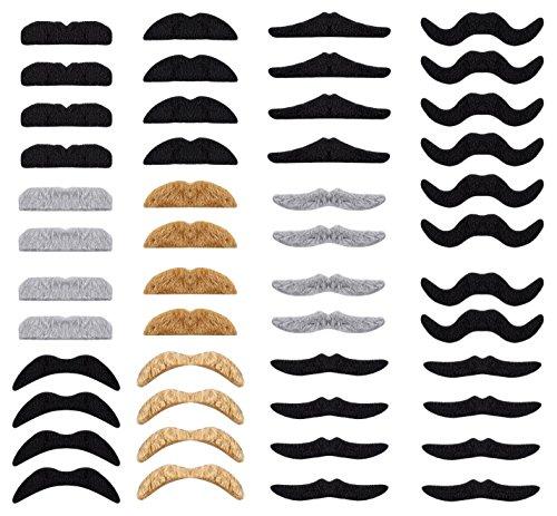 (Whaline 48pcs Neuheit gefälschte Schnurrbart Selbstklebende Schnurrbärte Set für Maskerade Party Favor, Kostüm und Performance)