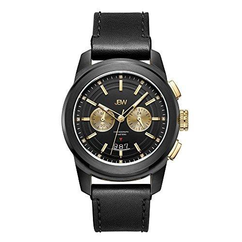 JBW hombre j6352C Mohawk 0.12CTW reloj de diamantes de acero inoxidable con baño de iones), color negro