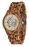 LAiMER Herren-Armbanduhr RALF Mod. 0097 aus Zebranoholz - Analoge Automatikuhr mit Skelett-Uhrwerk - 21 Jewels