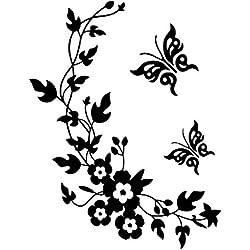 Pegatinas decorativas para pared, con dise?o de mariposas y flores, f¨¢ciles de retirar, color negro