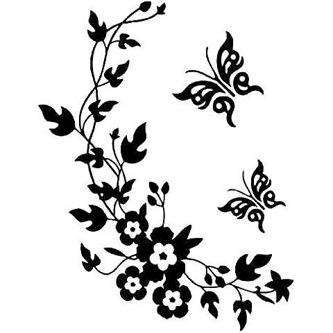 Pegatinas decorativas para pared, con diseño de mariposas y flores, fáciles de retirar, color