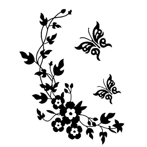 Pegatinas decorativas para pared, con dise?o de mariposas y flores, fš¢ciles de retirar, color negro
