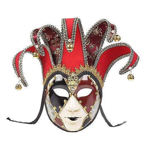Plus Mardi Kostüm Gra Größe - QYHSS Venezianische Maske Gesichtsmaske, Joker Karneval Fasching Maskenball, Maskerade Theater Weihnachtsfeier, für Karneval and Halloween, Kostüm für Erwachsene (Blue)