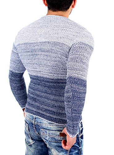 Reslad Strickpullover Herren Color-block Winter Pullover RS-3106 Indigoblau