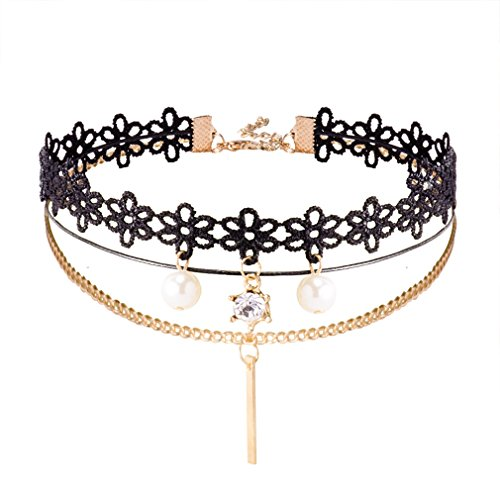 Jane Stone Damen Halskette Choker Kropfband schwarz Lace Spitze Blume Gothic Victorian Vintage Stil enge anliegende Jocker Kette für junge Frau und Mädel
