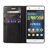 DENDICO Huawei P8 Lite Hülle, Premium Flip Leder Brieftasche Handyhülle, Kartenfach/Standfunktion/Magnetverschluss Wallet Tasche Schutzhülle für Huawei P8 Lite - Schwarz