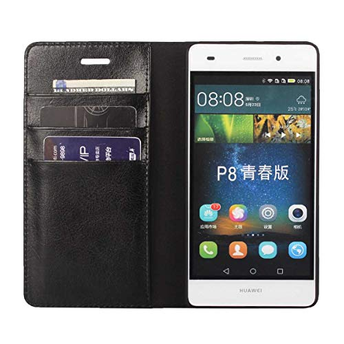 DENDICO Funda Huawei P8 Lite 2015, Funda Huawei P8 Lite 2016, Flip Libro Carcasa de Cuero Protectora Bumper para Huawei P8 Lite 2015/2016 - Negro
