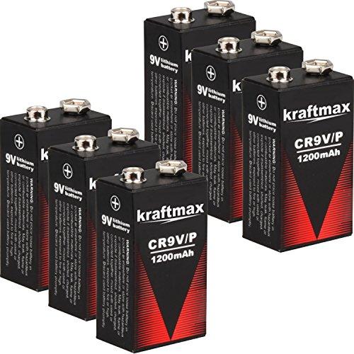 6x Kraftmax 9V Block Lithium Hochleistungs- Batterien für Rauchmelder / Feuermelder - 10 Jahre Batterie Lebensdauer