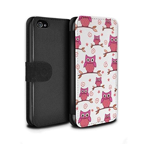 Stuff4 Coque/Etui/Housse Cuir PU Case/Cover pour Apple iPhone 4/4S / Pack (11 pcs) Design / Motif Hibou Collection Rose/blanc