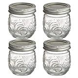4 Ball® Fruit Design Small Glass Jam & Chutney Preserving Jars and Lids 240ml