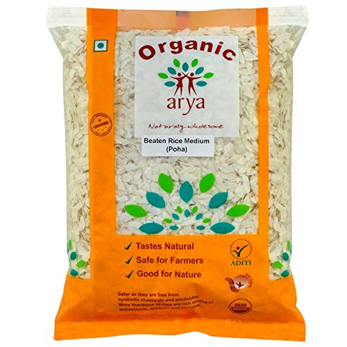 Arya Farm 100% Certified Organic Poha Medium (Flattened Rice), 1kg (Chura/Avalakki / Aval/Atukulu /No Chemicals/No Pesticides/No Preservatives)
