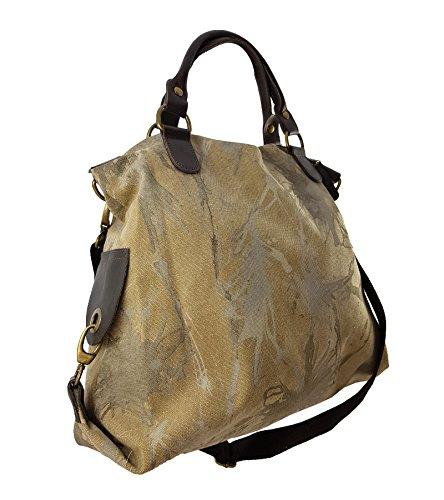 Canvas Echtleder Shopper Damenhandtasche | jede ein Unikat! Brandneu aus Italien Taupe V.2