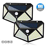 Solar Lights Outdoor, Motion Sensor Security Solar Power Lights 100 LED Waterproof Wireless Wall Lights Solar Lamps with 3 Intelligent Modes (2 Pack)