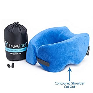 *NEW* Travelrest - Ultimate Memory Foam Travel Pillow/Neck Pillow, Ergonomic, Innovative, Best Travel Pillow for Airplane, Auto, Bus, Train, Office Napping, Camping, Wheelchair & Home