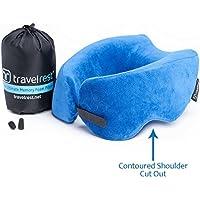 Travelrest® Ultimate Memory Foam Almohada/Almohada para el Cuello - Terapéutica, ergonómica, patentada - Funda Lavable - Más cómoda - Comprime hasta 1/4 DE su tamaño (2 años de garantía)