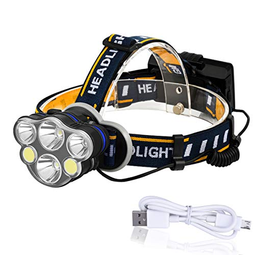 YoungRich LED Linterna Frontal USB 6 Luz Frontal Potente 40W Lámpara Impermeable Correa Ajustable Rango de 500m 13,000 LM Modo de Brillo 8 para Camping Caza Pesca Ciclismo Emergencia 60.5x47x34.8cm
