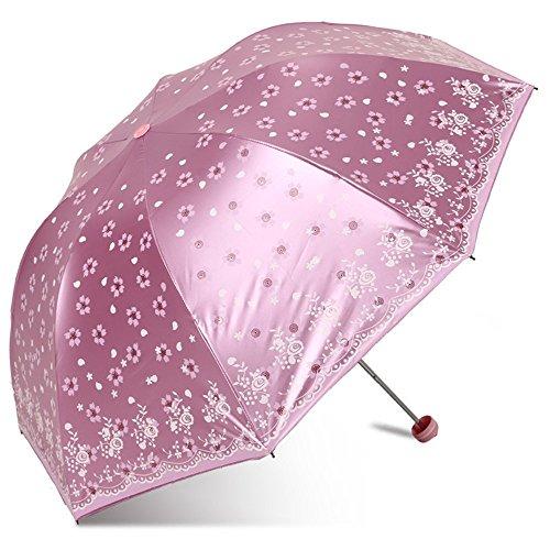 Dyewd ombrello,ombrello da donna, ombrellone da esterno estivo, ombrellone parasole anti raggi uv nero in plastica, ombrello doppio uso giorno piovoso, ombrellone moda di alta qualità, rosa