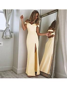 GAOLIM Womenswear Vestido De Verano Collar De Word Rendijas Vestido, Amarillo, M.