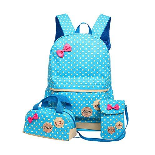 Kids niños Teen Girls Cute libro lunares bolsa mochila