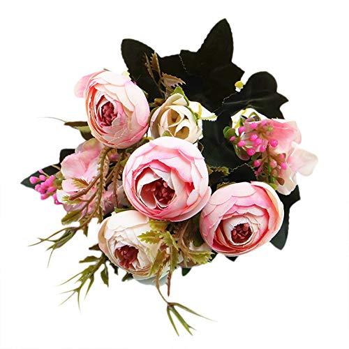 Lazzboy Unechte Blumen,Künstliche Deko Blumen Gefälschte Blumen Blumenstrauß Seide Wirkliches Berührungsgefühlen, Braut Hochzeitsblumenstrauß für Haus Garten Party Blumenschmuck #04(D)