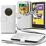 ( White ) Nokia Lumia 1020 Ledergeldbörse Flip Hülle Tasche Mit-Schirm-Schutz-Schutz & Aluminium In Ear Ohrhörer Stereo-Kopfhörer-Kopfhörer Hands Free-Headset mit Mikrofon Mic & On-Off-Taste Einbau By Spyrox