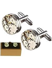 Magic show Gemelos con Forma de Movimiento de Reloj Vintage, Estilo Vintage, para Hombre, Incluye Funda, de la Marca