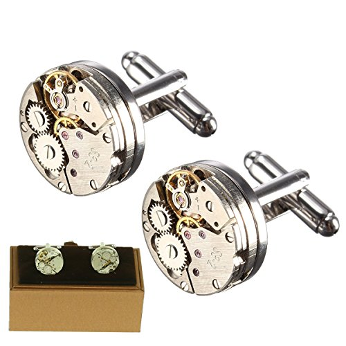 Magic Show Manschettenknöpfe für Herren, Uhrwerk-Form, Steampunk-Stil, Vintage-Stil, hochwertig, inkl. Schatulle