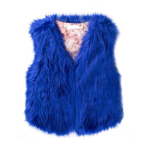 Gilet invernale donna cappotto corto Outwear abbigliamento cappotto elegante in finta pelliccia artificiale Slim senza maniche giacca gilet, Black, large Sapphire