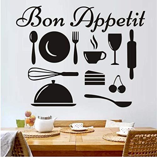 Preisvergleich Produktbild Zlxzlx Französisch L Wandtattoo Geschirr Kunst Küche Wandaufkleber Kunst Abnehmbare Diy Wall Cling Murals Home Decor 55 * 43 Cm