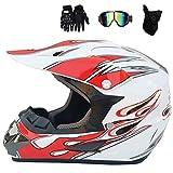 CC-helmet Adult Motorradhelm Motocross Helm Mit Brille Handschuhe Maske, Weiß Und Rot, Off Road...