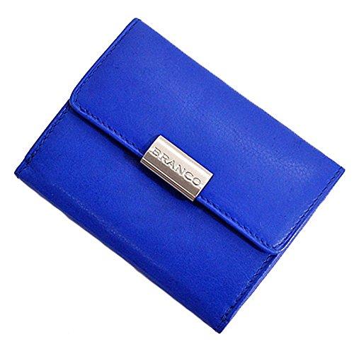 Blaue Mini Geldbörse (Branco Mini Leder Geldbörse Geldbeutel Portemonnaie Börse 9x7x2cm (Blau))