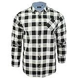 Herren Hemd von Brave Soul gebürstete Baumwolle, kariert, langärmlig (Weiß Schwarz) XL