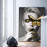XIAOXINYUAN Poster Drucken Butterfly Blumen Frauen Öl Gemälde Leinwand Kunst an der Wand Bilder Für Wohnzimmer Home Dekor 60 X 90 cm Ohne Rahmen