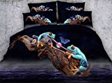 LifeisPerfect HD Digital 3D Conjunto de Ropa de Cama, Doble, Queen, King Size Dos Ranas Impreso...