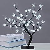 Albero luminoso LED, 48 LED, lampada fiori di ciliegio, 45 cm, luce di albero per la decorazione di interni bianco