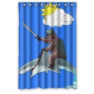 WECE 48 x 183 cm Motif ours RIDEAU DE DOUCHE Shark Requin d'équitation-Rideau de douche - 100%  Polyester