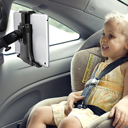 "iihome Tablet Halterung Auto, KFZ Kopfstützen iPad Kopfstützen Halterung 360° Grad Einstellbare rotierende Autositz-Kopfstützenhalterung für iPad, 7"" bis 10"" Tablets - Schwarz(2nd Gen)"