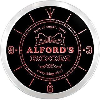 ncpe1894-r Alford's Girl Princess Kids Room Night Light Neon Sign LED Wall Clock